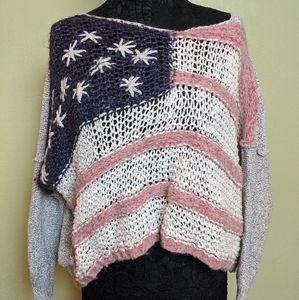 Free People RARE American Flag Sweater - M